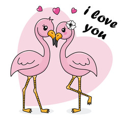 Couple of flamencos in love. Valentines card