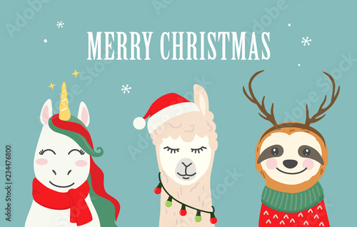 Merry Christmas Illustration.Collection Of Christmas Cartoon Characters Merry Christmas