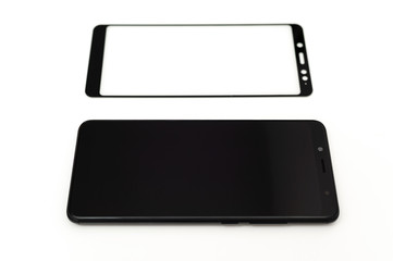 Black smartphone and a protective glass.