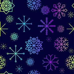 Red and blue snow flakes falling winter modern vector background. Snowflake elements vector illustration, confetti chaotic scatter winter modern background in trendy colors.