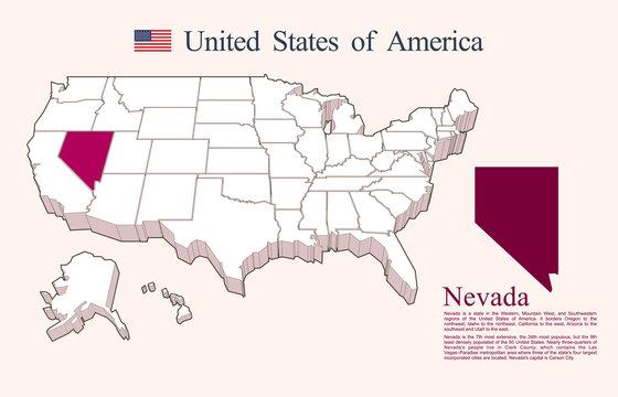 USA map vector, Nevada