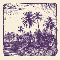 Keuken foto achterwand Aubergine tropical landscape with palms trees. linocut style. vector illustration.
