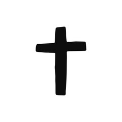 cross church silhouette vector icon. isolated object