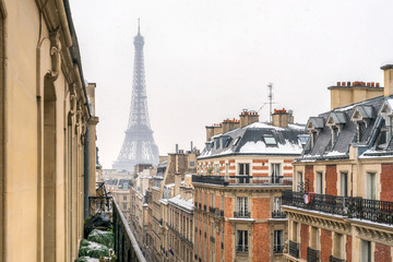 Wall Mural - Blick auf den Eiffelturm im Winter, Paris, Frankreich