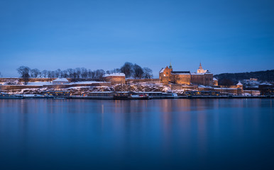 Snow-clad Akershus fortress - in the blue hour, Oslo
