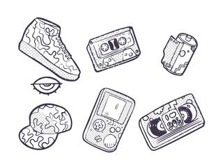 Set of fashion patches, Sneakers, video cassette, cap, audio cassette, fun icons vectorin 90s retro concept. Doodle style