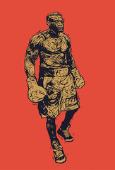 Boxer. Retro Engraving Linocut Style. Vector Illustration.
