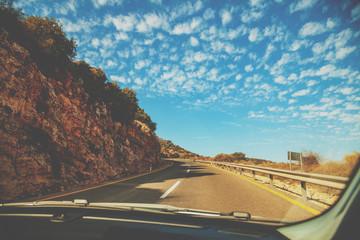 Driving a car on the mountain road. Mount Menara, Israel