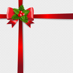 Red Ribbon Isolated Transparent Background And Holly Berry