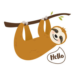 Cute cartoon sloth vector graphic design. Adorable hand drawn baby sloth character hanging on the tree. Illustration for nursery design, poster, greeting, birthday card, baby shower design and party