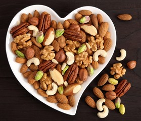 Nuts on a plate in the shape of a heart.