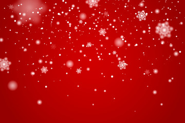 Snow falling background. Vector magic Christmas eve snowfall. White glitter snowflakes falling down on red background.