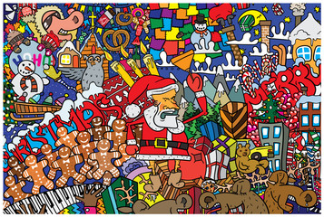 Great Christmas card with Santa Claus, reindeer and gifts