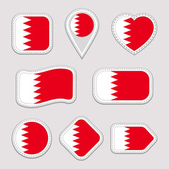 Bahrain flag stickers set. Bahraini national symbols badges. Isolated geometric icons. Vector official flags collection. Sport pages, patriotic, travel, school, design elements. Different shapes.