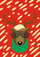 Christmas modern style hipster deer. Template for xmas design.