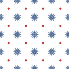 Seamless pattern of snowflakes and circles, dots. Symmetrical background for wrapping paper. Vector.