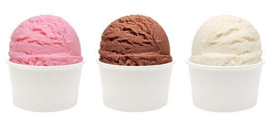 Strawberry, vanilla, chocolate different flavor ice cream scoops in white blank paper cup side view on white background