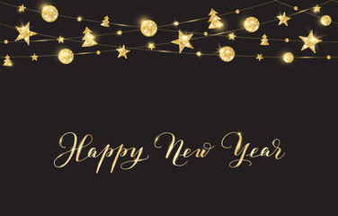 Background with Happy New Year calligraphy. Christmas golden glitter decoration on a string