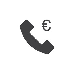 Money call vector icon. filled flat sign for mobile concept and web design. Telephone handset and Euro simple solid icon. Symbol, logo illustration. Pixel perfect vector graphics