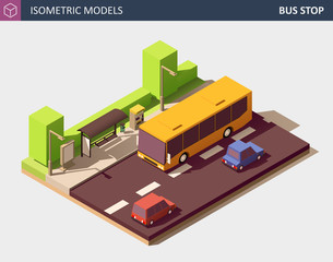 Modern Urban Concept of Public Transport. Vector Isometric Illustration.