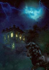 Creepy night castle and unicorn