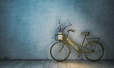 Retro Fahrrad an Wand abgestellt