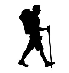 person hiking silhouette vector