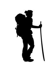 woman hiking silhouette vector