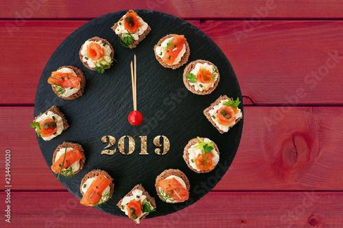 Happy New Year 2019 Clock Showing 12 O Clock Creative Food Idea
