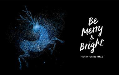 Merry Christmas blue glitter reindeer shape card