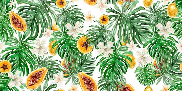Beautiful watercolor tropical pattern with flowers,fruits papaya and lemon.