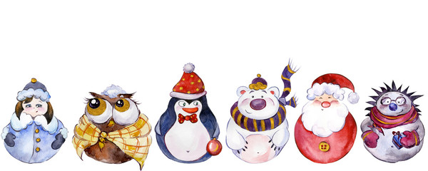 Set of Christmas characters (Santa, Snow Maiden, penguin, polar bear, owl, hedgehog) isolated on white background. Watercolor painting. Hand painted.