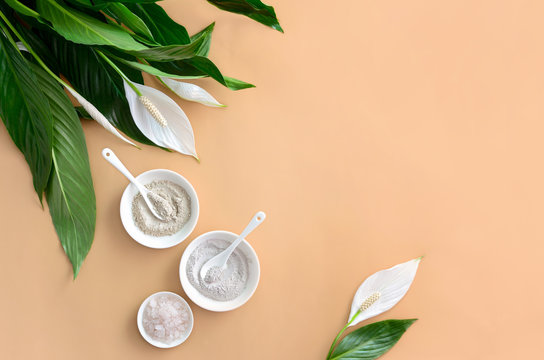 Spa background with cosmetic clays