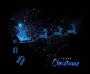 Merry Christmas blue glitter santa greeting card