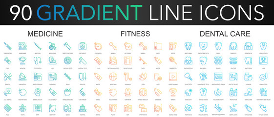 90 trendy gradient vector thin line icons set of medicine, fitness, dental care.