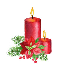Christmas candles with poinsettia. Watercolor hand drawn