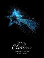 Merry Christmas blue glitter star greeting card