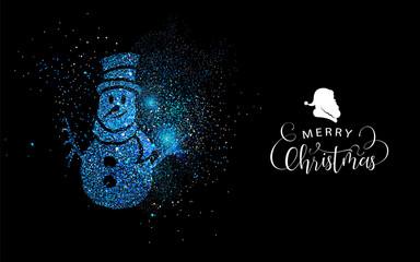 Merry Christmas blue glitter snowman shape card