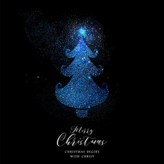 Merry Christmas blue glitter pine tree shape card