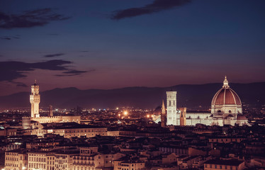 Panoramic view of Florence Duomo and Palazzo Vecchio, Tuscany, Italy
