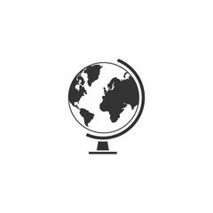 Globe. Black Icon Flat on white background