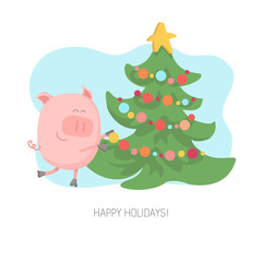 Vector illustration of a cheerful pig decorating christmas tree with balls and toys on bright blue background. Flat character of a piggy for Chinese New Year or Christmas card and poster design.