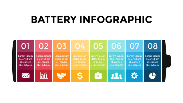 Vector battery infographic template. Presentation slide template. Business concept with 8 options, parts, steps, processes.