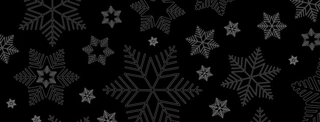 Black and White Snowflake Banner
