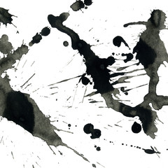 Isolated artistic black watercolor and ink splatter textures and decorative elements on white paper background.
