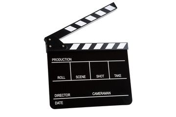 Movie clapper board open isolated on white background