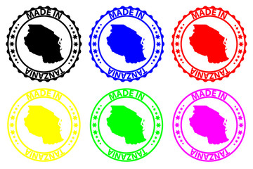 Made in Tanzania - rubber stamp - vector, Tanzania map pattern - black, blue, green, yellow, purple and red
