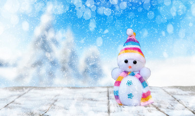 Cute Snowman In Winter Landscape