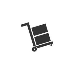Handcart. Black Icon Flat on white background