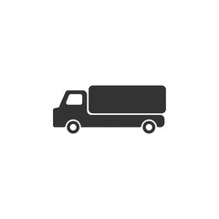 Truck. Black Icon Flat on white background